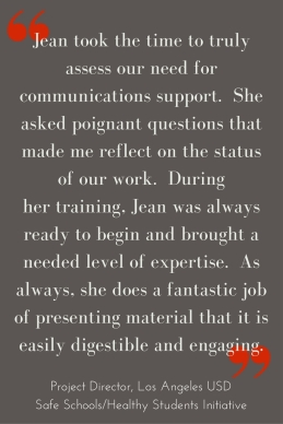 "I felt extremely supported during each step of the process. While Jean could have easily just said ""yes"" ""maybe"" or ""no"", she took the time to truly assess the sites need for"